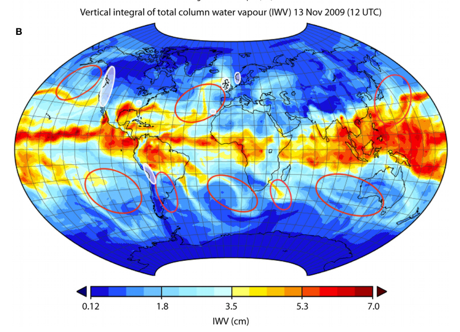 Map using ERA-Interim data showing the composite integrated total column of water vapour at 12-00 UTC 13 November 2009