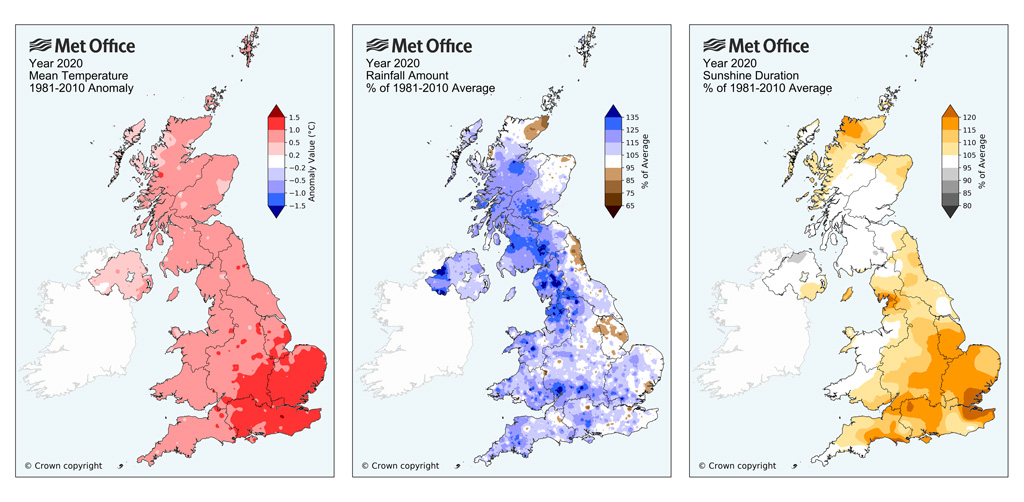Maps of temperature rainfall and sunshine anomalies relative to a 1981-2010 average