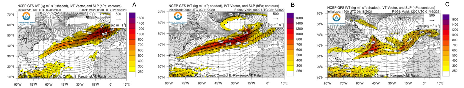 NCEP GFS water vapour flux predictions for storms Ciara Dennis and Christoph